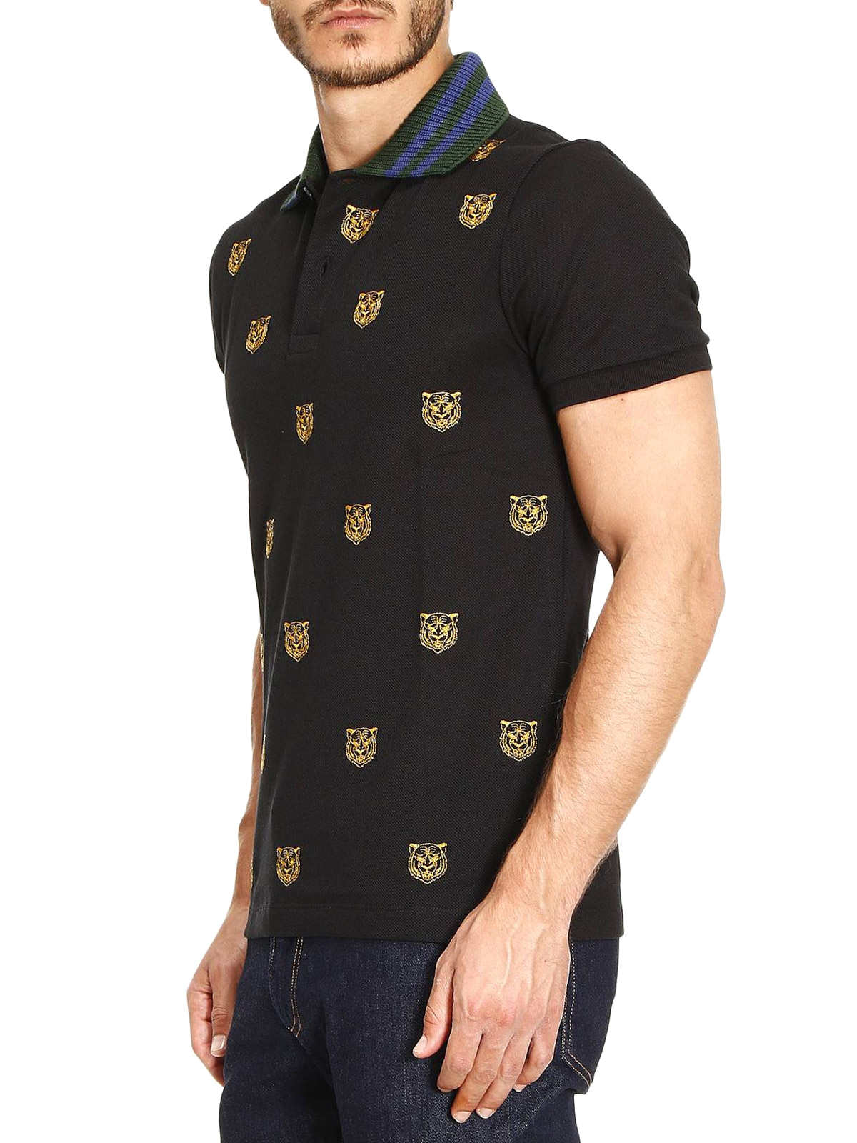 ffb737cf8 Gucci - Tiger head embroidered polo shirt - polo shirts - 475118 ...
