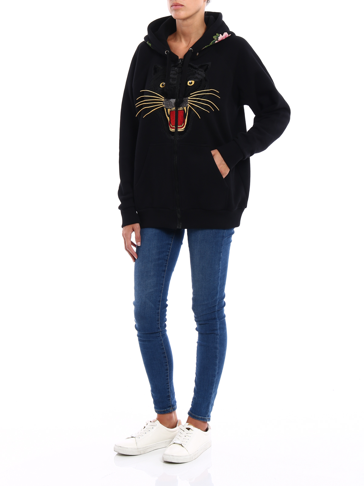 90b4293a6de Gucci - Tiger patch over hoodie - Sweatshirts   Sweaters ...
