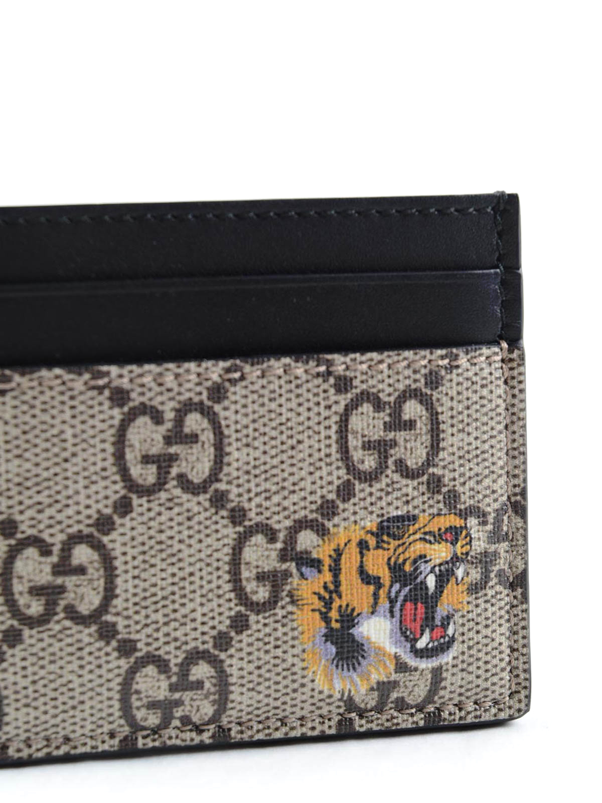62e83c8817e249 Gucci - Tiger print GG Supreme card holder - wallets & purses ...