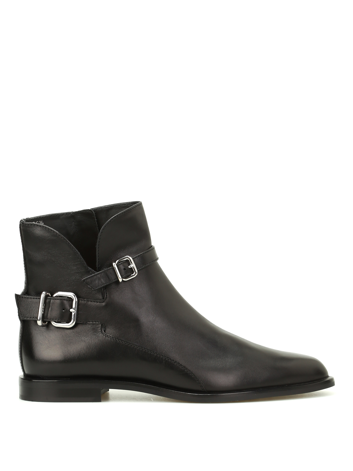 Tod's Buckled Leather Pointy Ankle Boots In Black