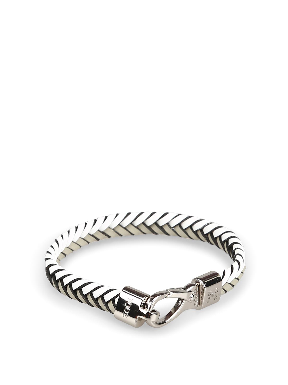 Grey Woven Leather Flat Bracelet