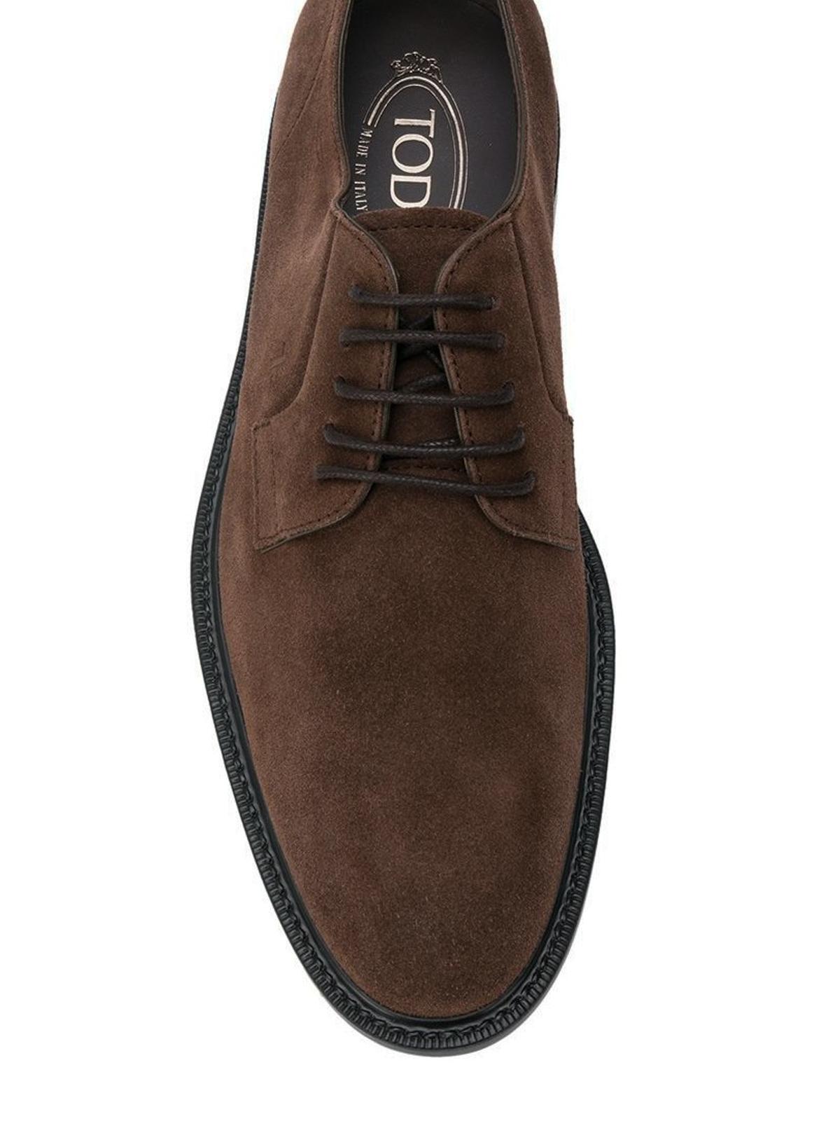 541915bf67dcf4 Tod'S - Derby stringate in camoscio marrone - scarpe stringate -  XXM45A0H370RE0S402