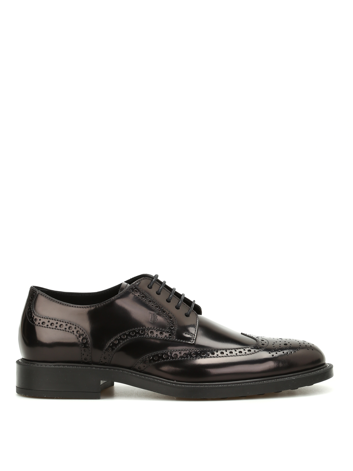 Tod's 45a Brushed Leather Derby Shoes In Black