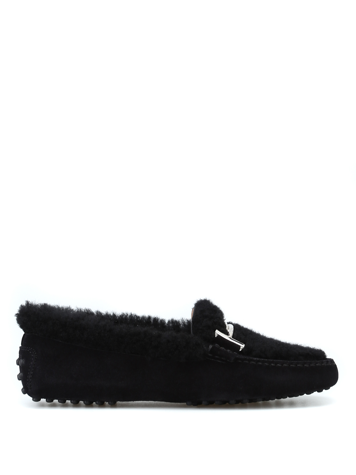 ef81496f641 Tod S - Double T suede and shearling loafers - Loafers   Slippers ...