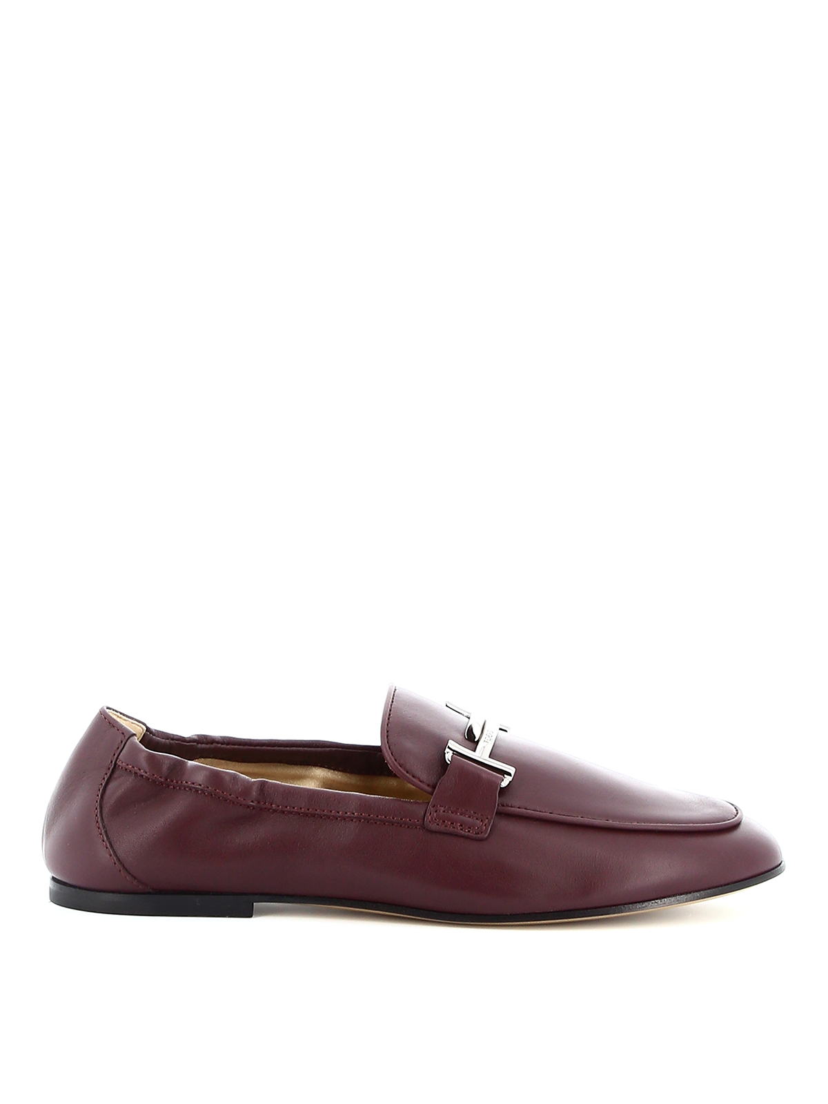 Tod's Metal Double T Detailed Leather Loafers In Dark Purple