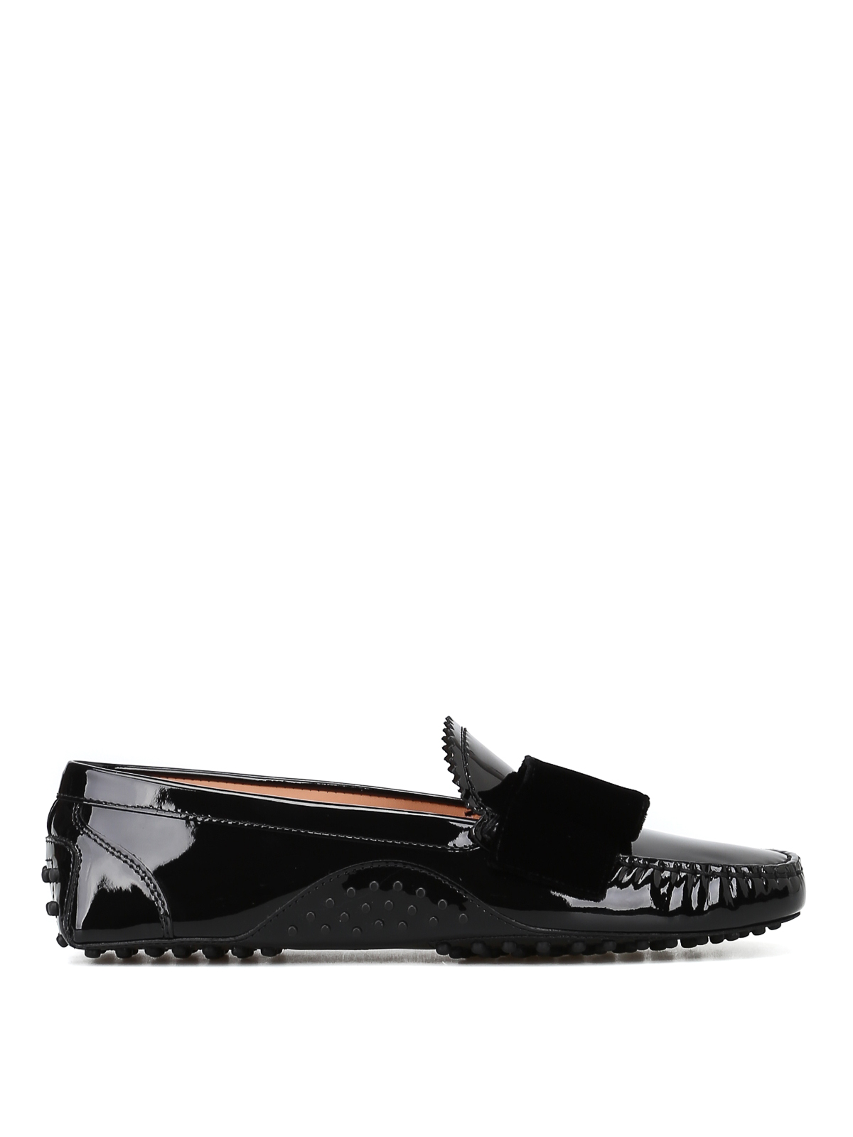 Tod's T Factory 1 Black Loafers With Velvet Bow