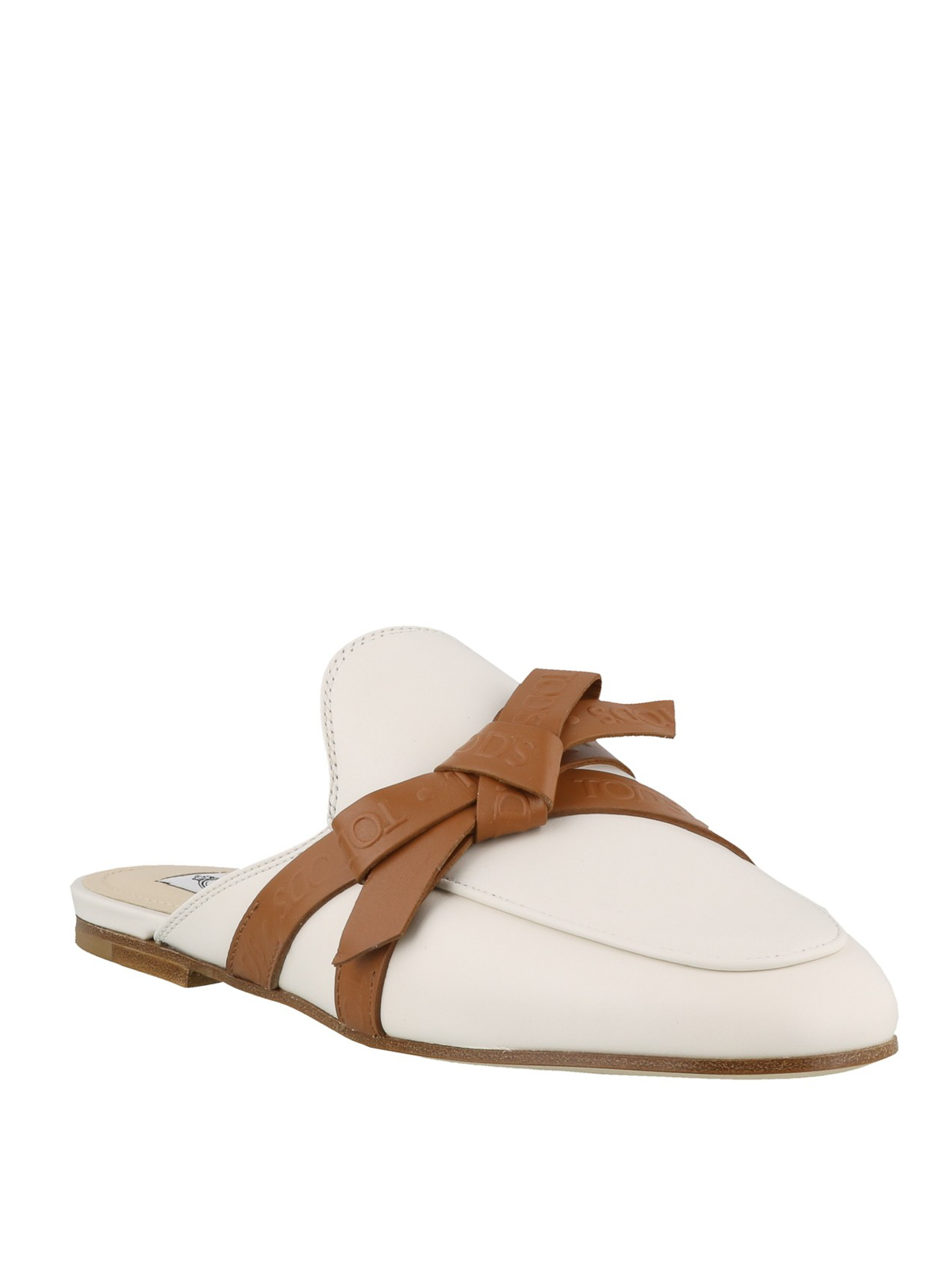 Tod'S - Bow detail white leather mules