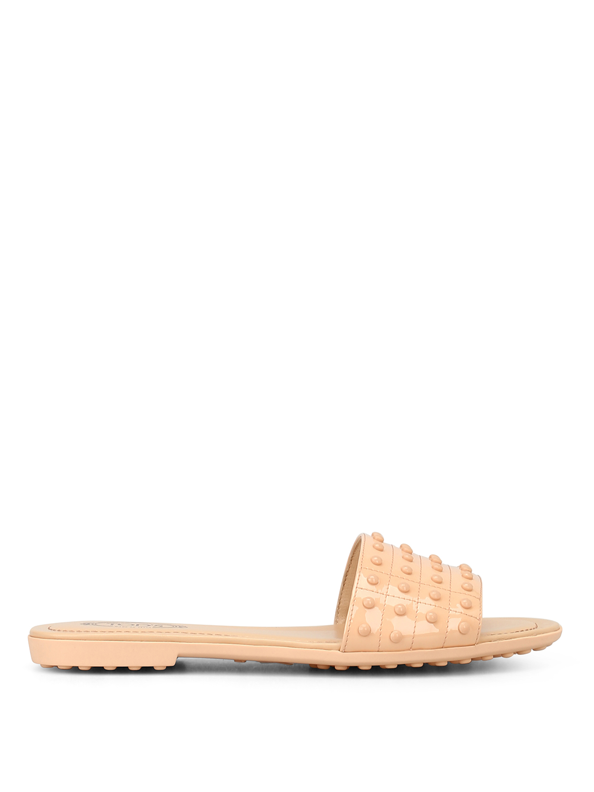 Tod's Leather Pebbled Slippers In Light Pink