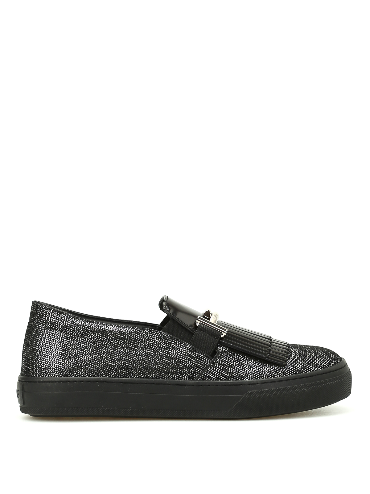 Tod's Double T Fringed Leather Sneakers In Black