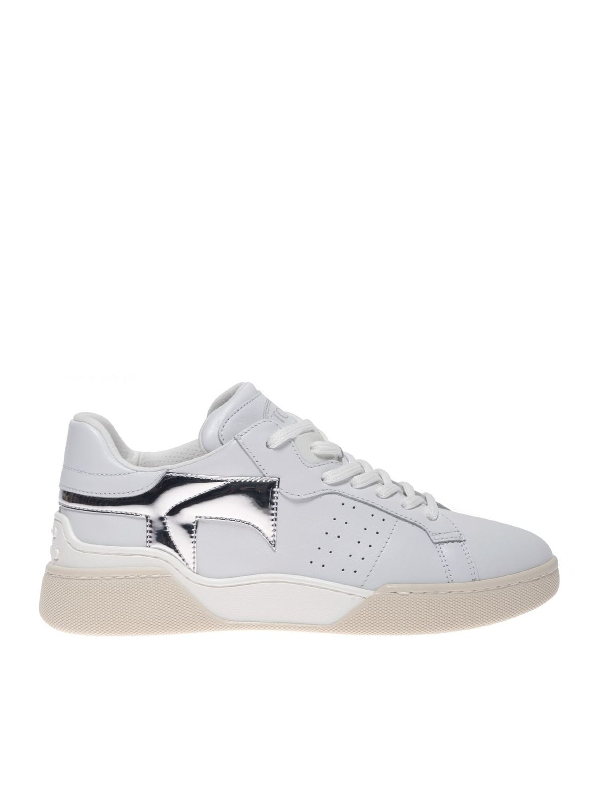 Tod's Platforms WHITE SNEAKERS WITH SILVER MIRROR DETAIL