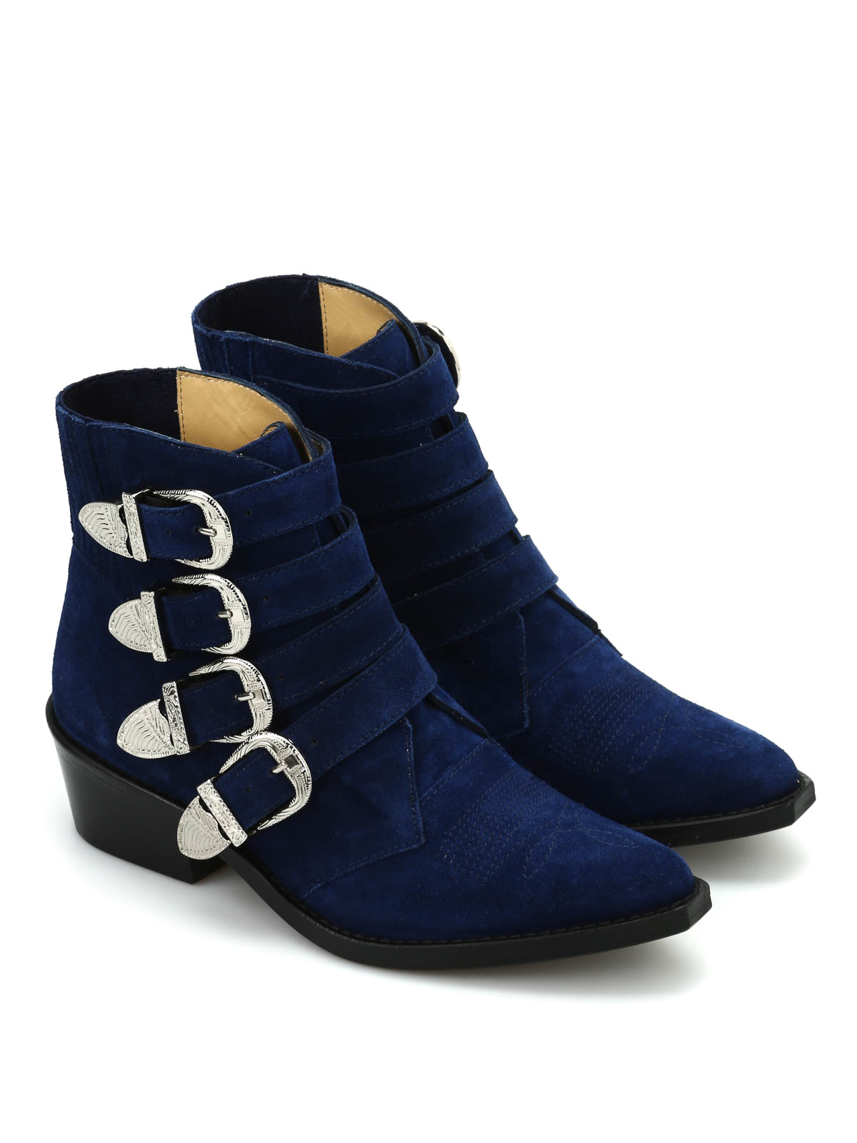 buckle detailed suede ankle boots by toga ankle boots