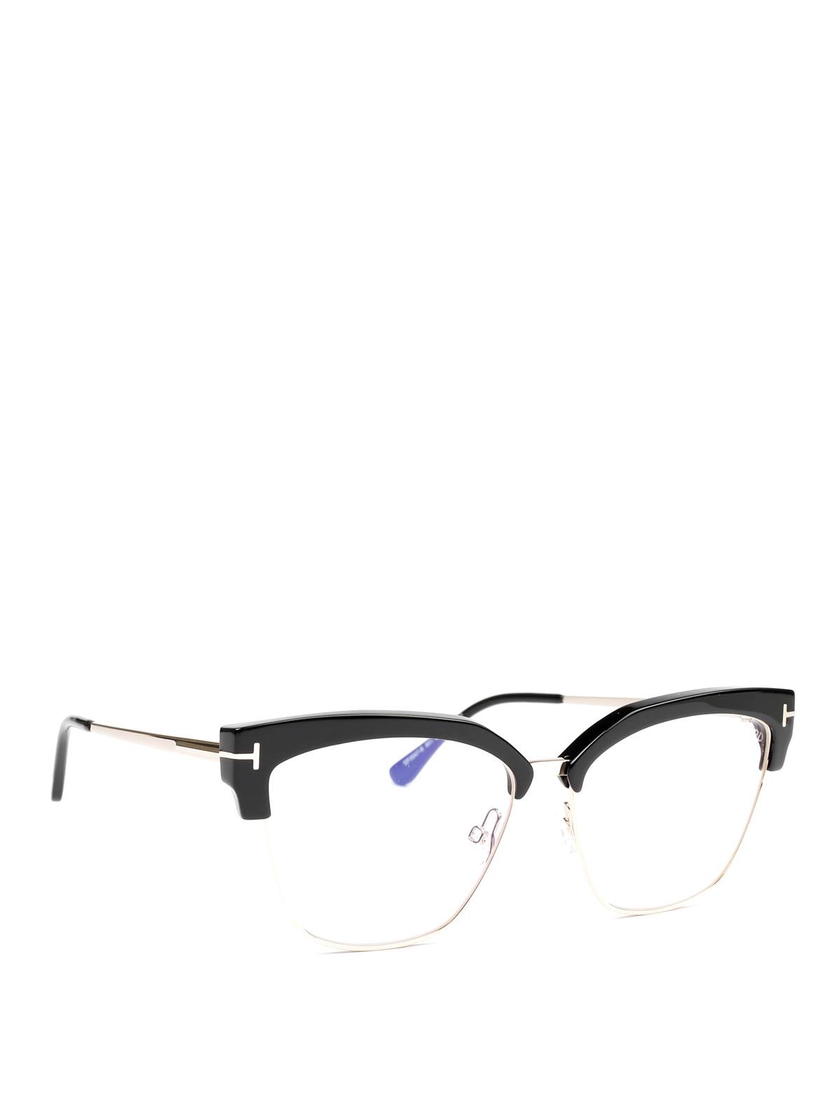 Tom Ford Black Metal And Acetate Eyeglasses
