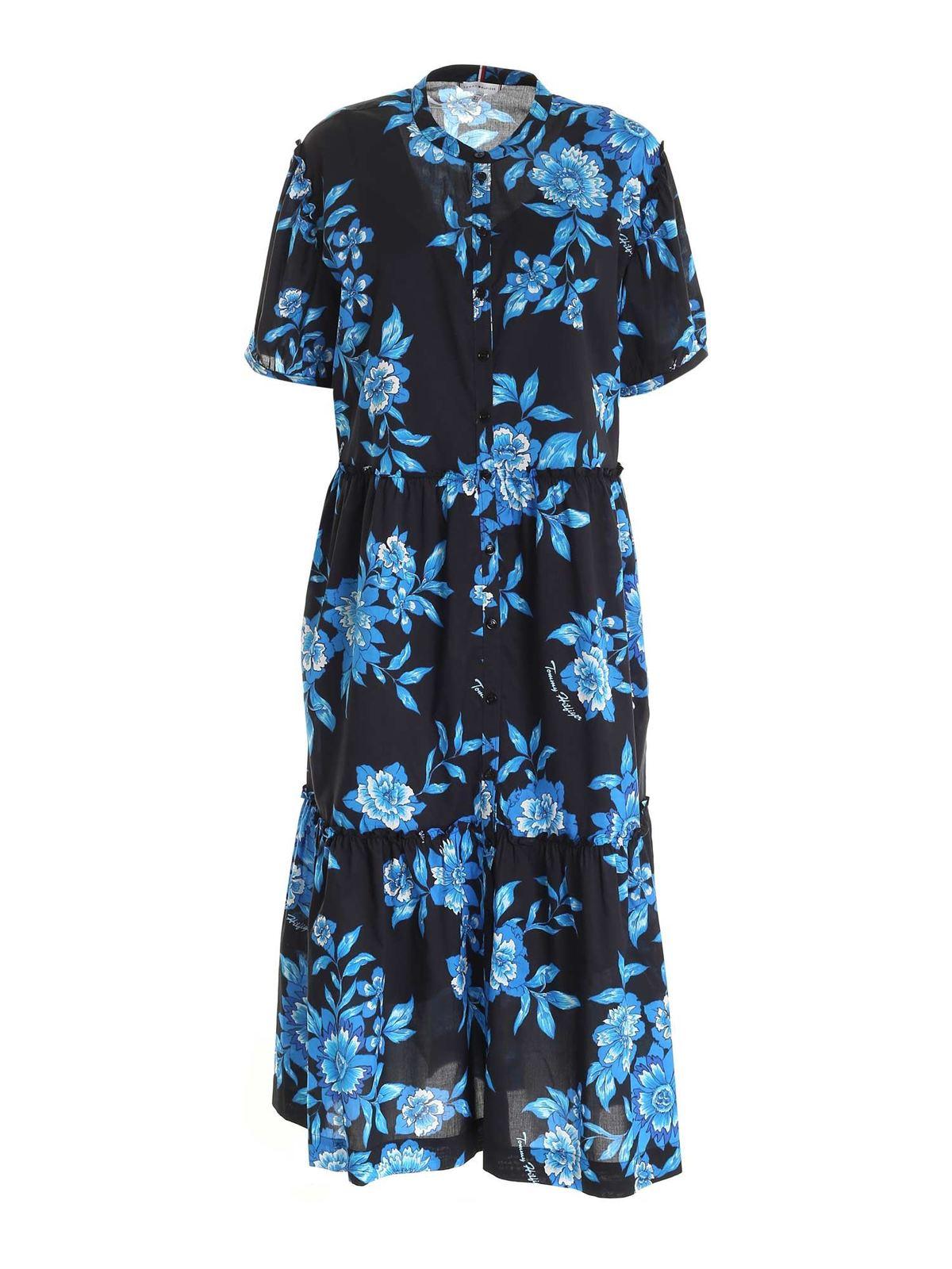 Tommy Hilfiger VOILE FLORAL DRESS IN BLACK