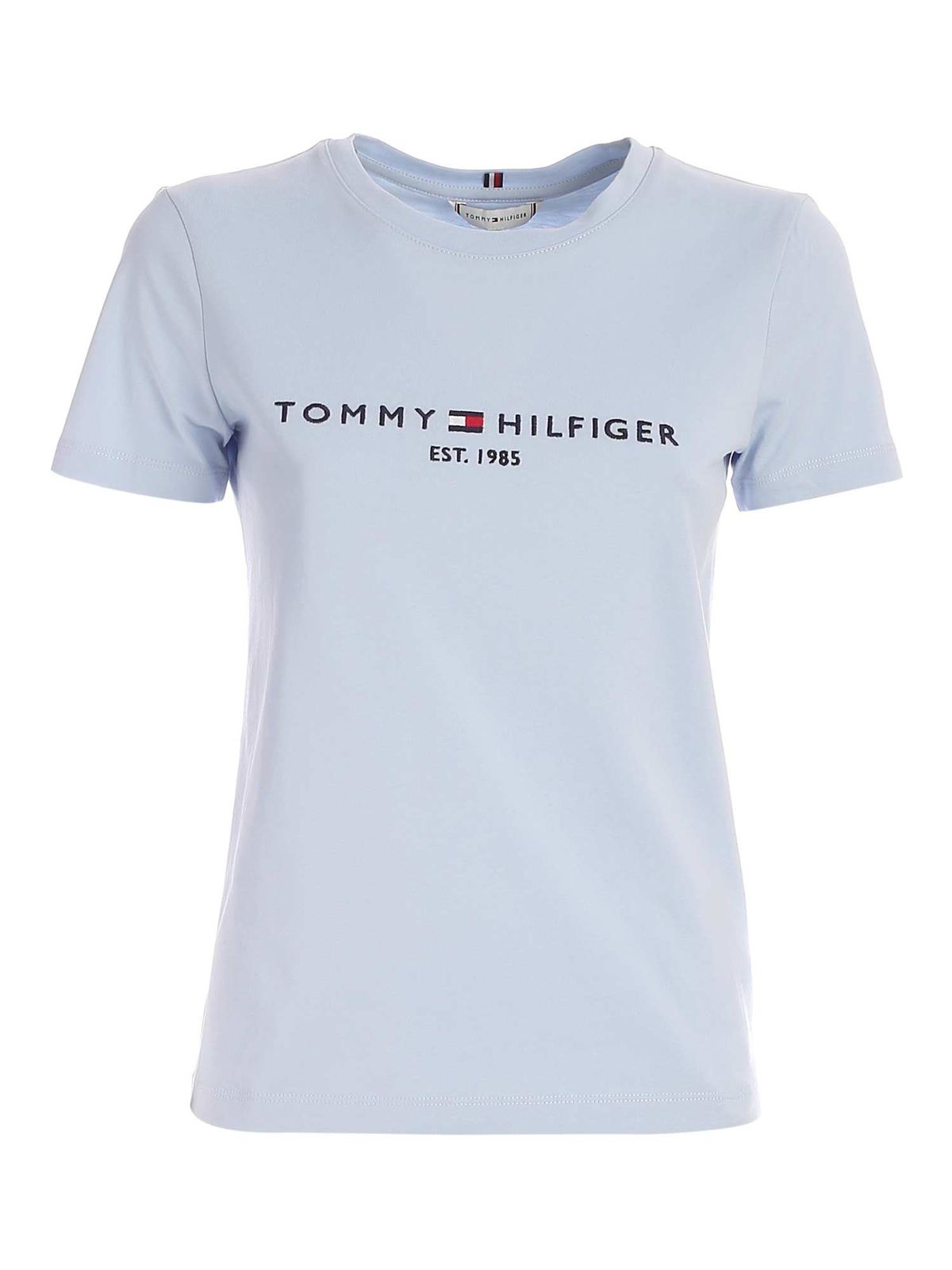 Tommy Hilfiger CONTRASTING EMBROIDERY T-SHIRT IN LIGHT BLUE