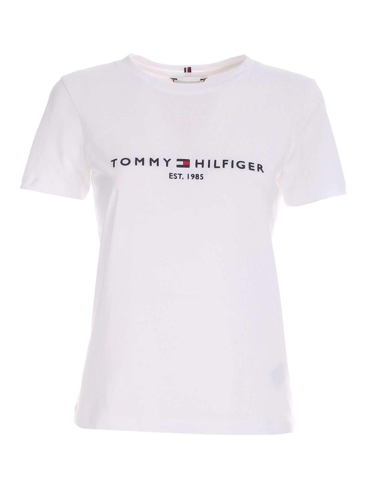 Tommy Hilfiger CONTRASTING EMBROIDERY T-SHIRT IN WHITE