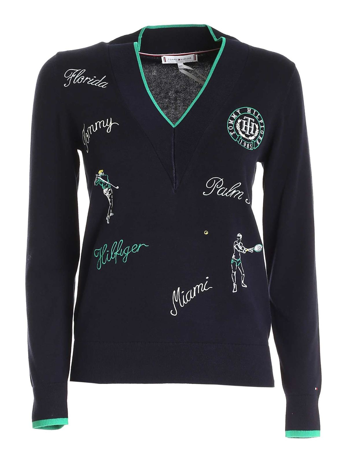 Tommy Hilfiger LOGO EMBROIDERY SWEATER IN BLUE