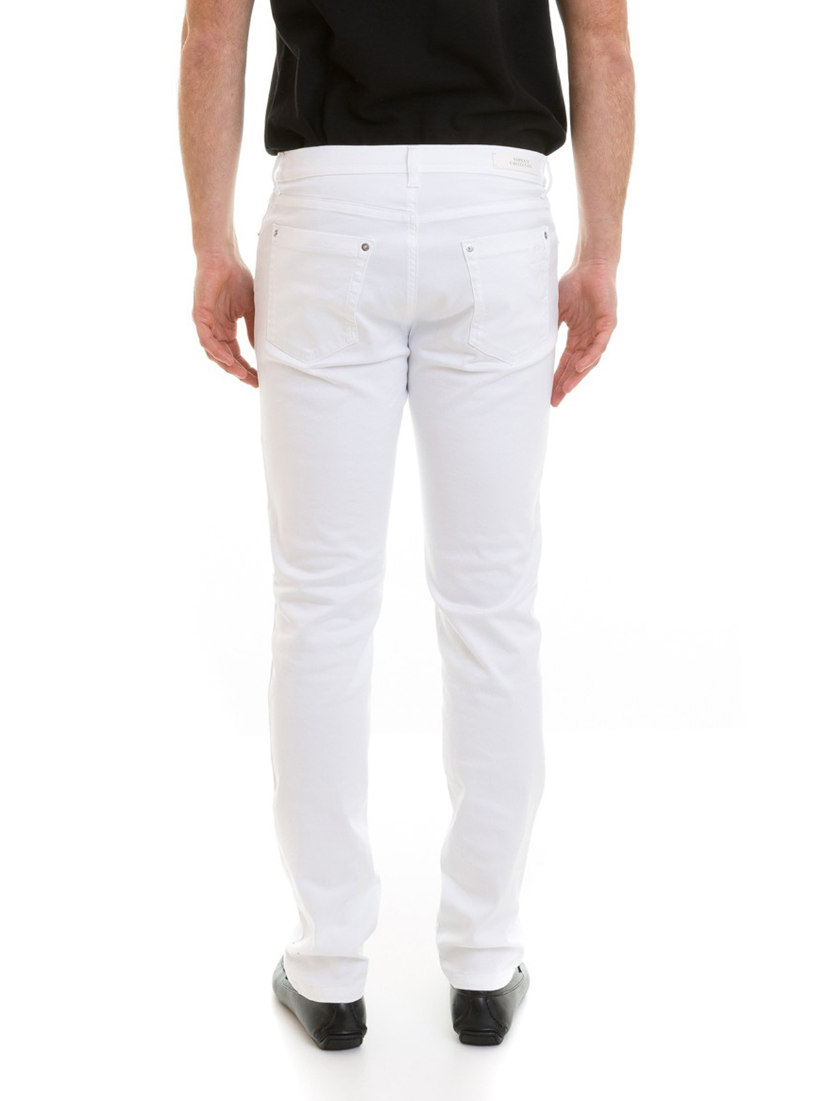 fc2a142d57 Versace Collection - Tonal embroidered logo white jeans - straight ...