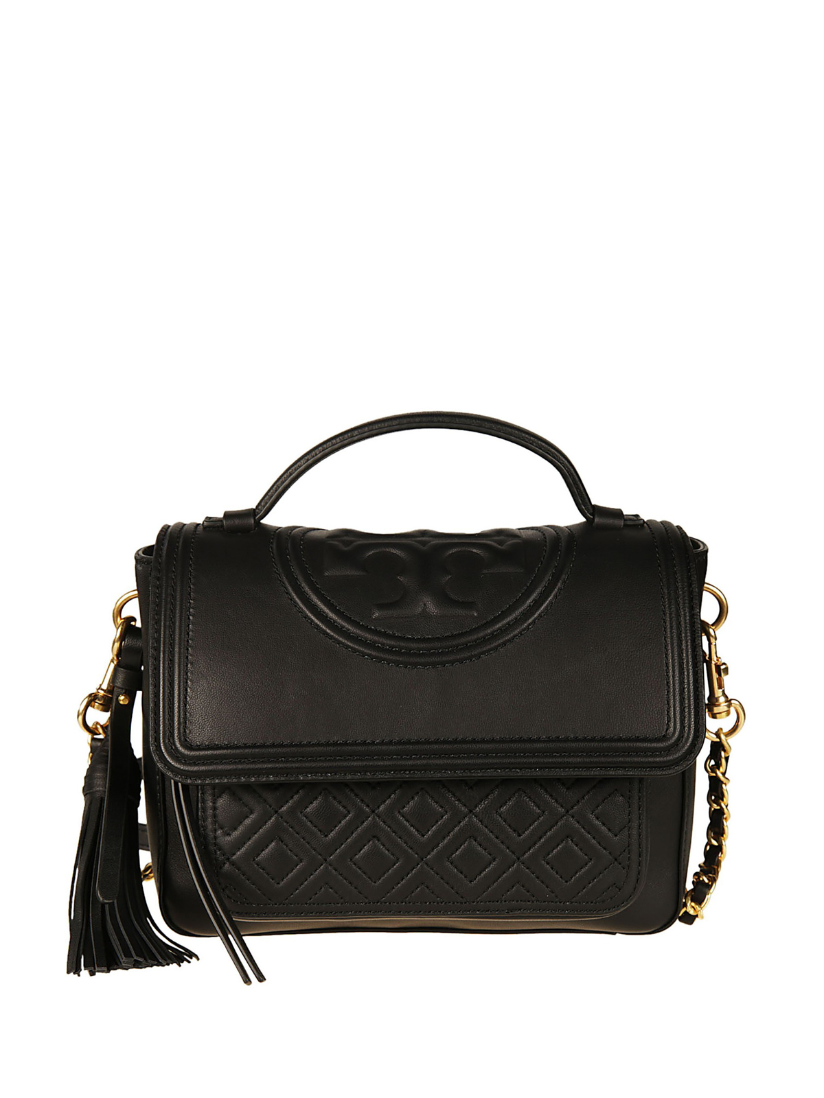 ec554b134688 Tory Burch - Fleming black leather satchel - bowling bags - 45147 001