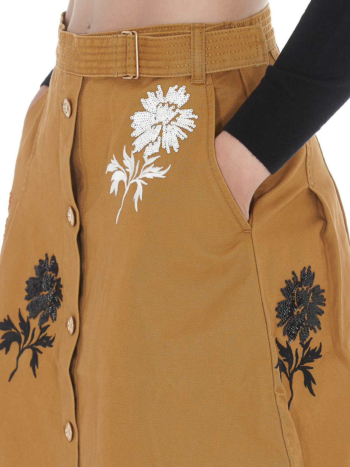 Tory Burch Flower Embroidery Embellished Cotton Skirt Knee Length Skirts Midi 55664261