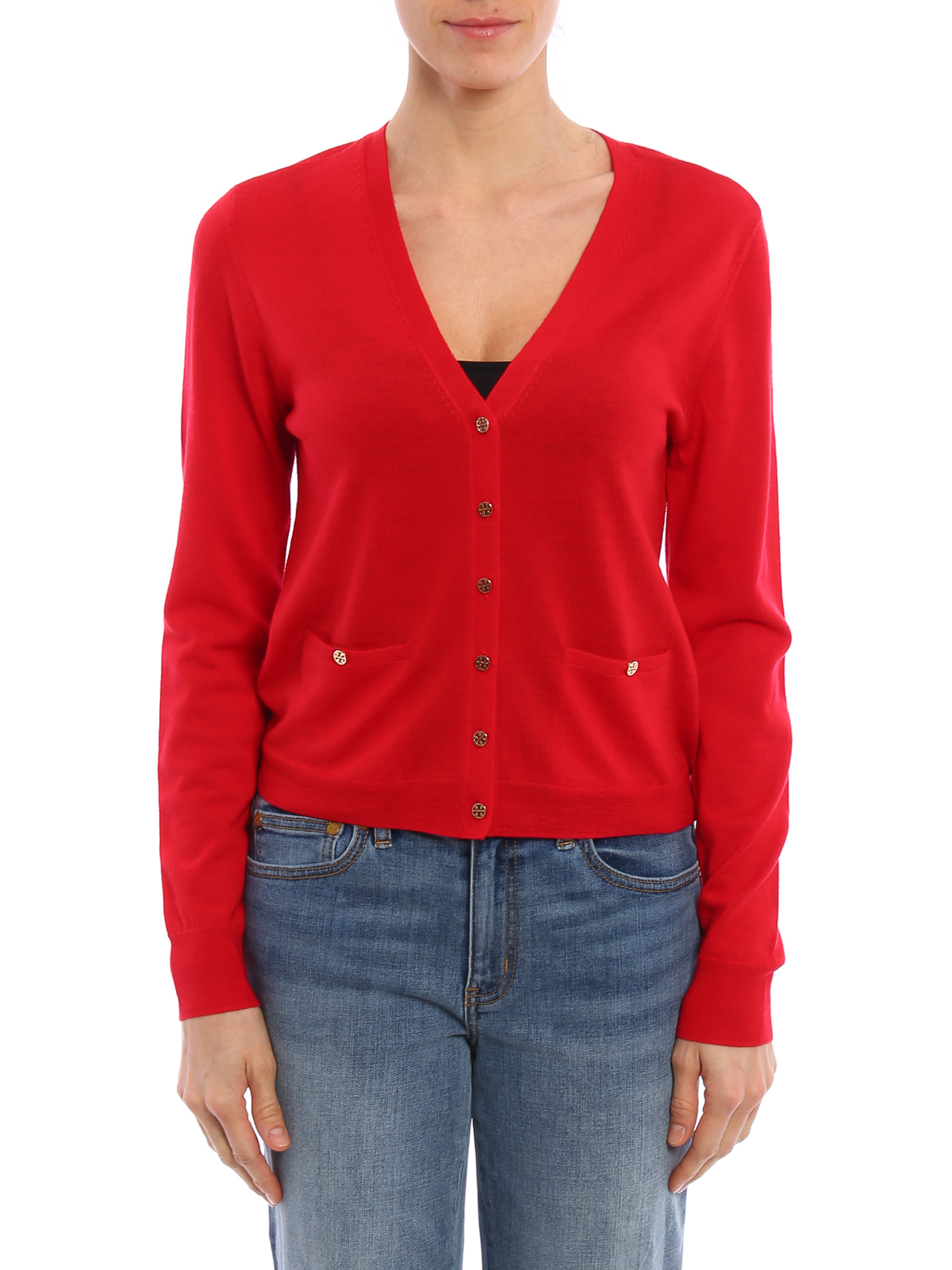 Shrunken merino wool cardigan by Tory Burch - cardigans | iKRIX
