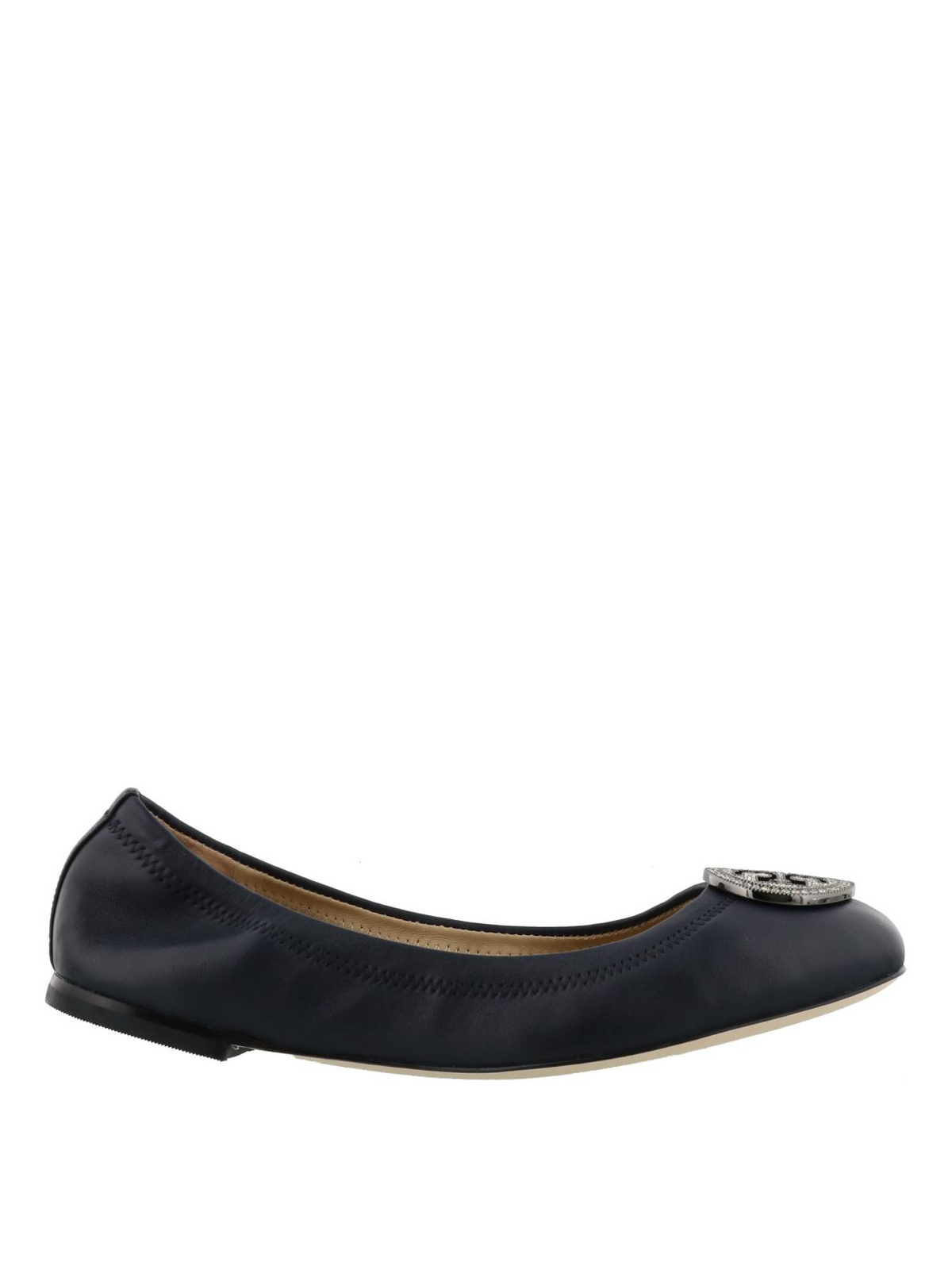 Liana Navy Leather Flat Shoes By Tory Burch - Flat Shoes ...
