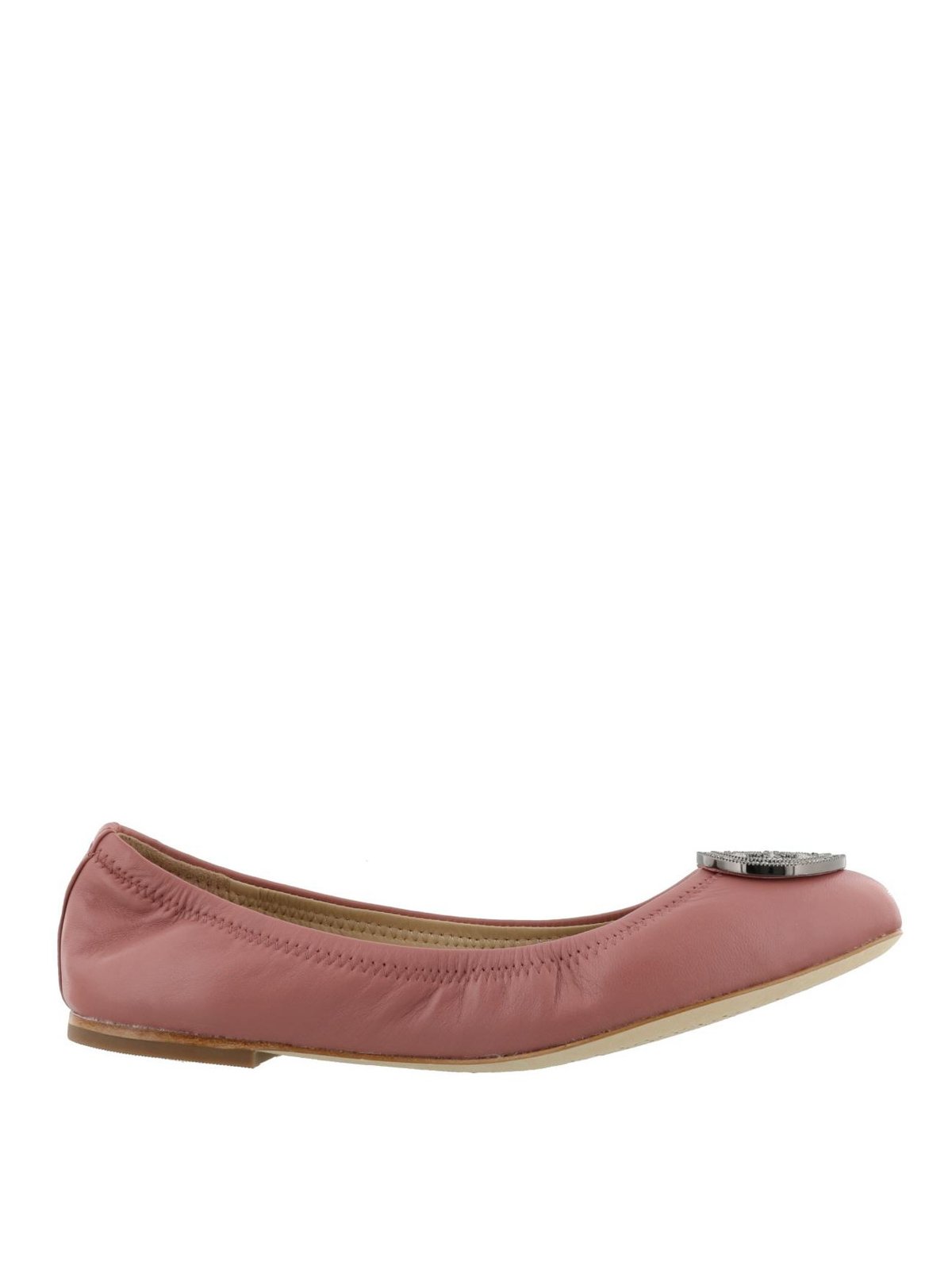 Tory Burch Liana Pink Leather Flat Shoes 46084 651 Flatshoes