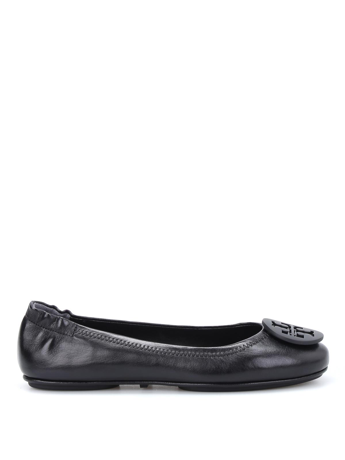 Tory Burch: flat shoes - Minnie logo leather ballerinas