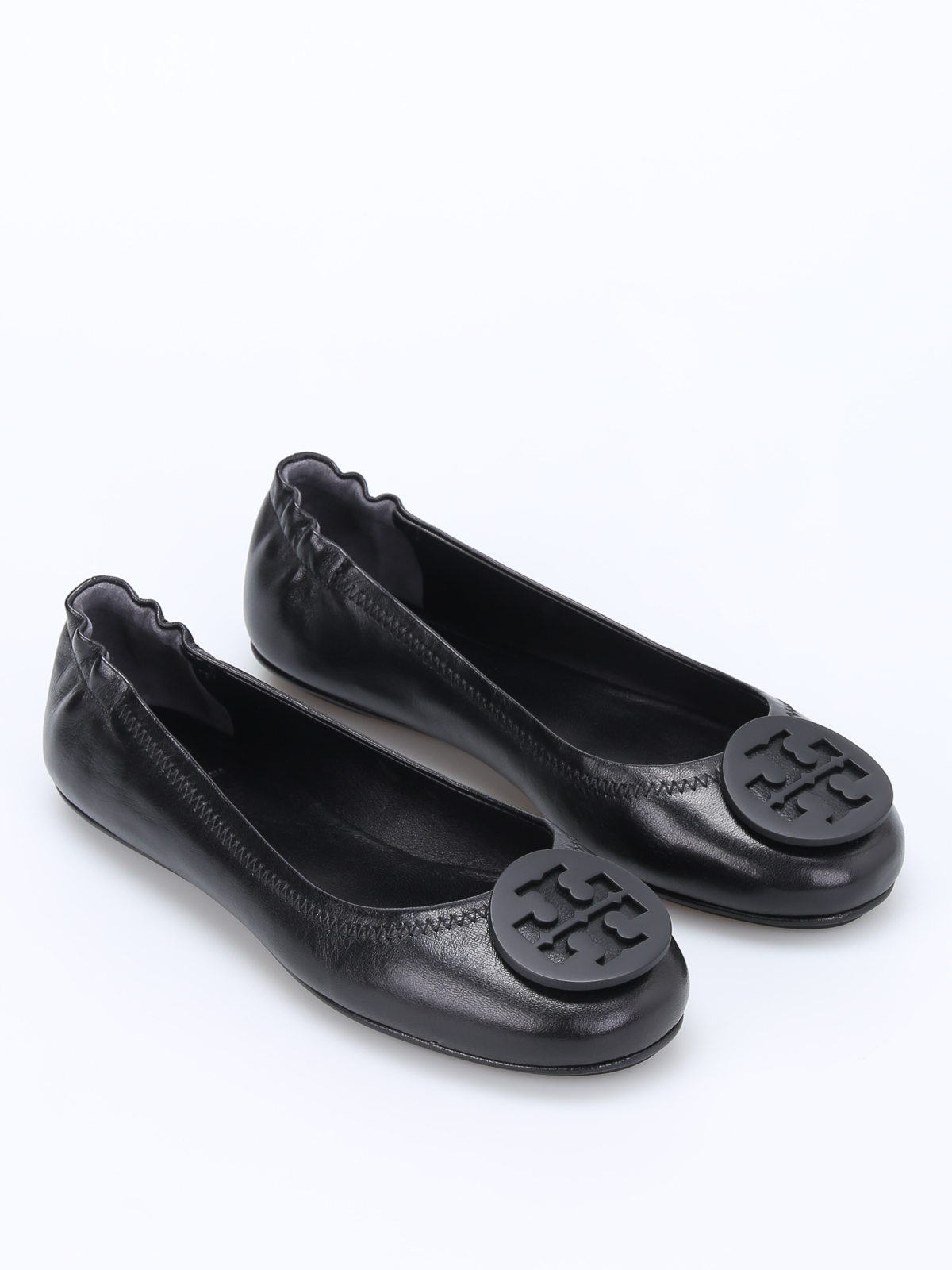 Tory Burch: flat shoes online - Minnie logo leather ballerinas