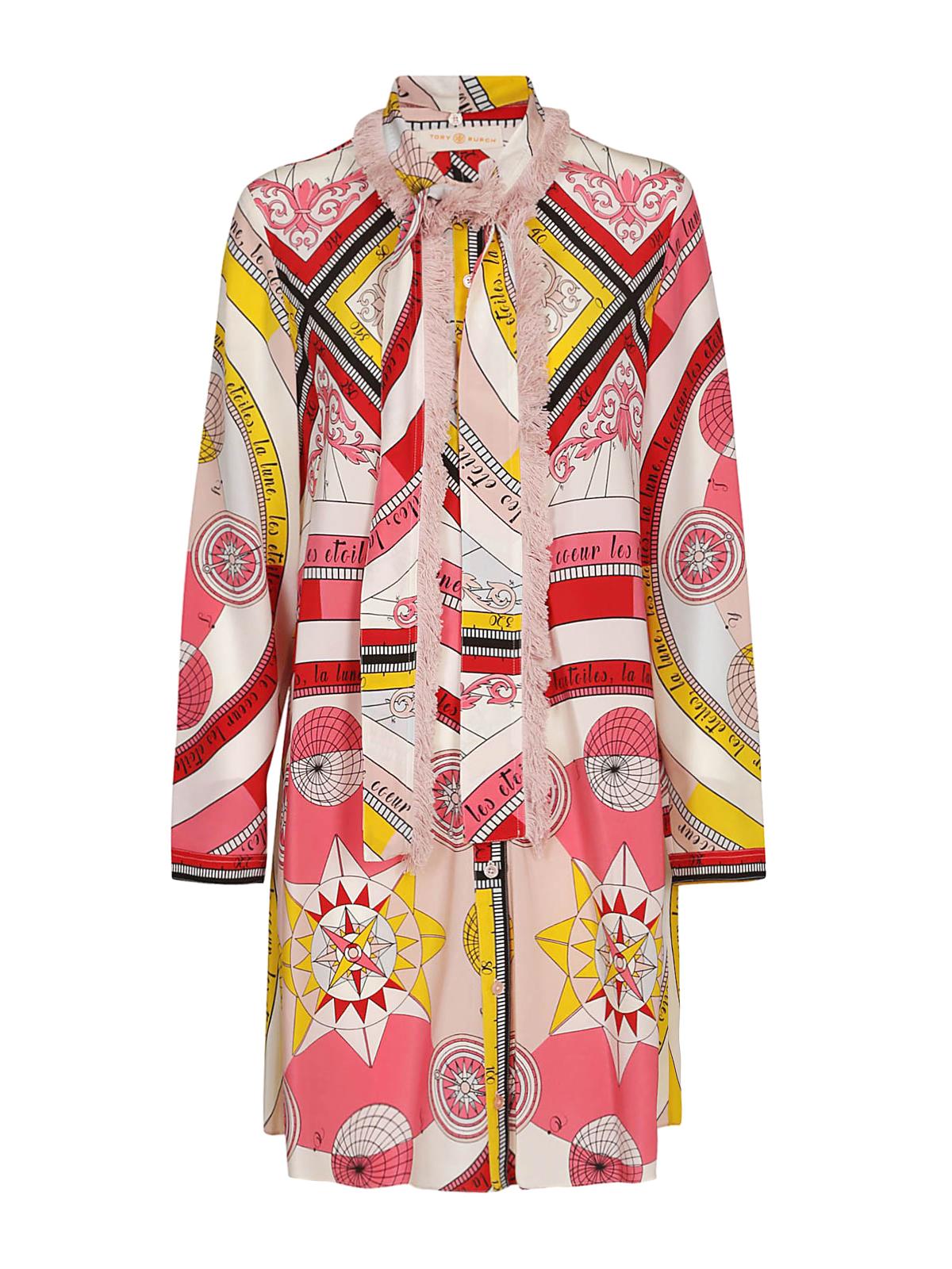 0221e9f9f3cfe TORY BURCH  knee length dresses - Fringe bow Constellation silk shirt dress