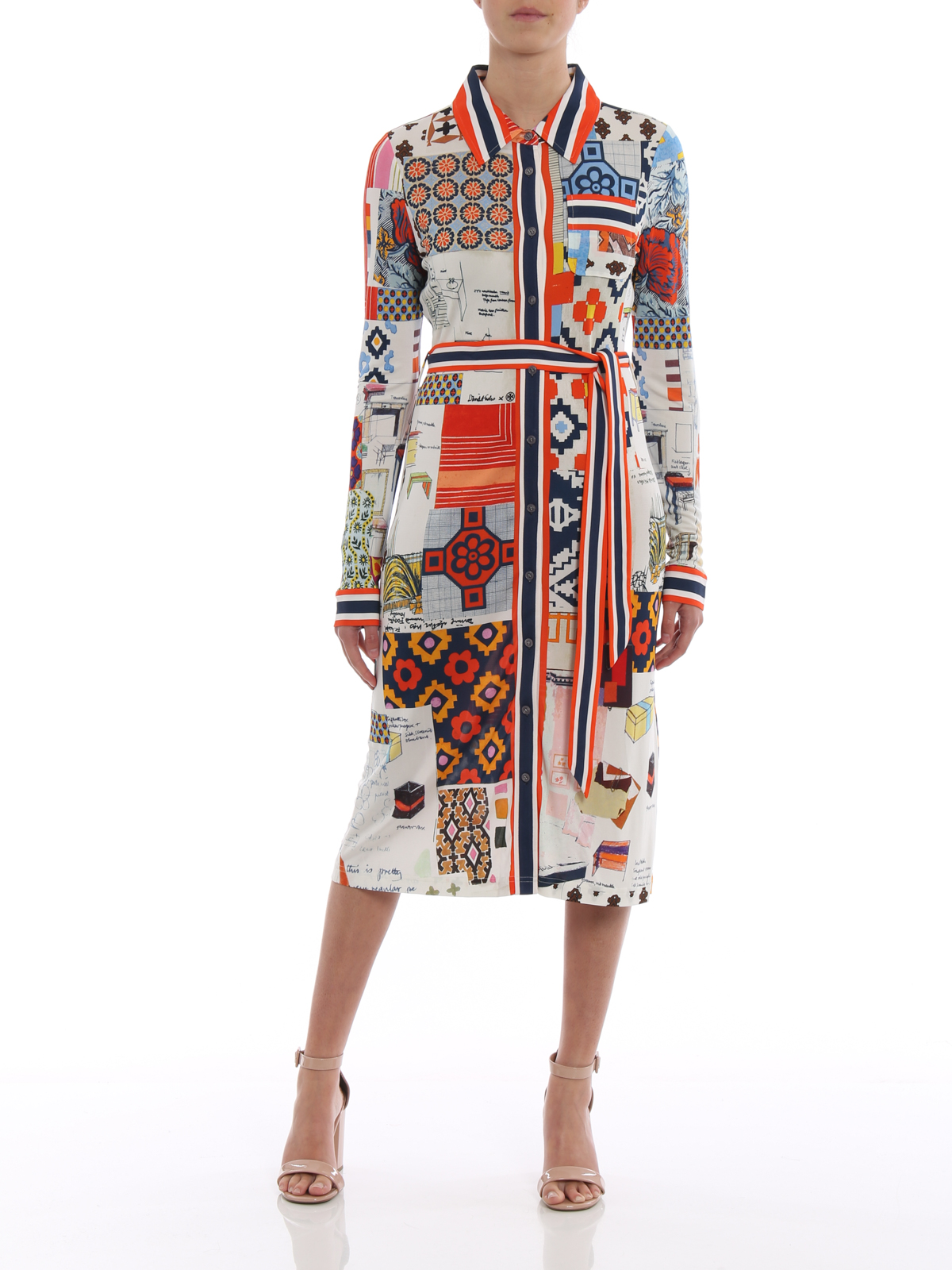 b1ef1125663 TORY BURCH  knee length dresses online - Laurence silk blend shirt dress