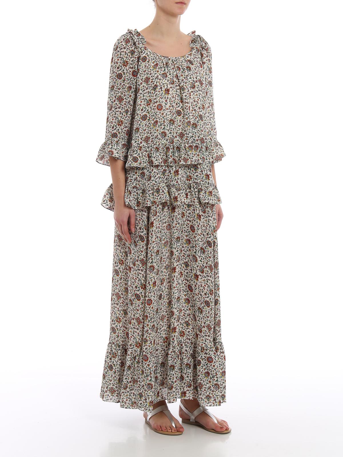 4f09c2a9381c TORY BURCH  maxi dresses online - Flower print ruffled silk maxi dress