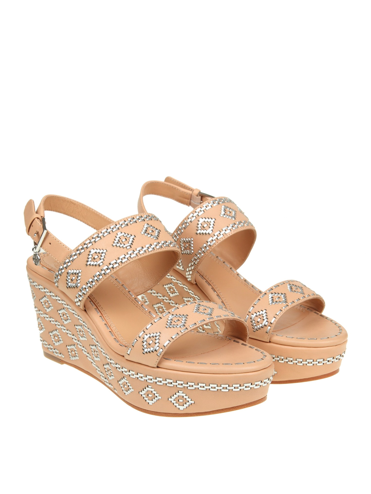 6d3a472b3734fb Tory Burch - Blake nude leather wedge sandals - sandals - 47121261