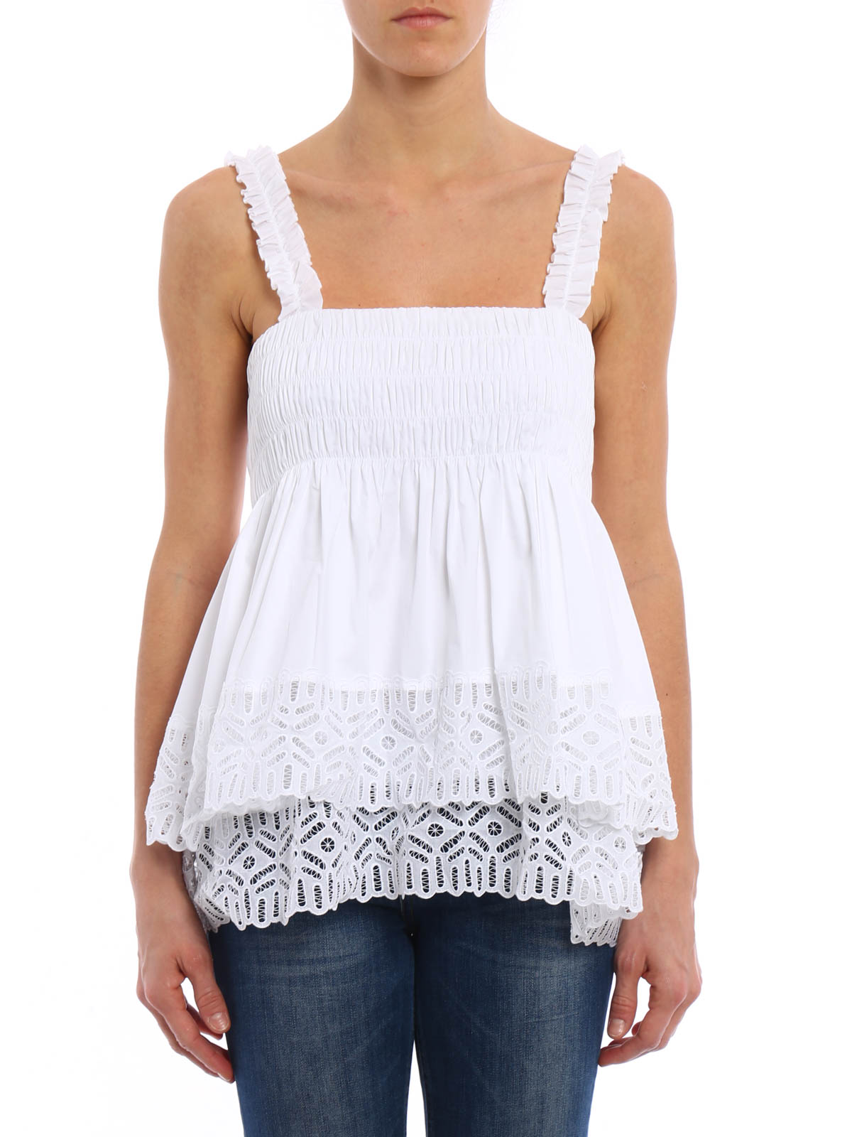 6fde2a486 Tory Burch - Broderie anglaise trimmed top - Tops & Tank tops ...