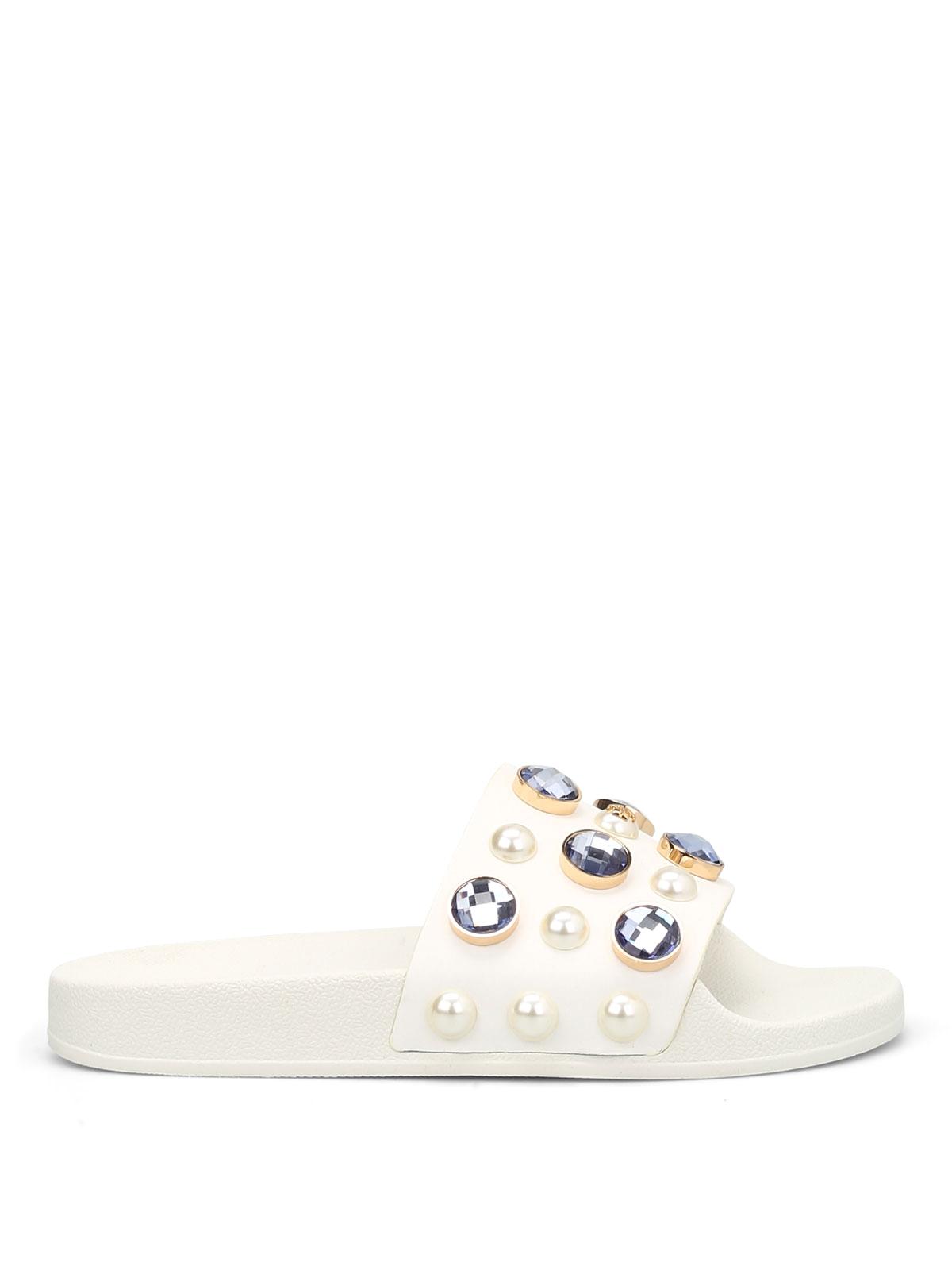 7c3901271f000 Tory Burch - Vail rhinestone and bead sliders - sandals - 35939100