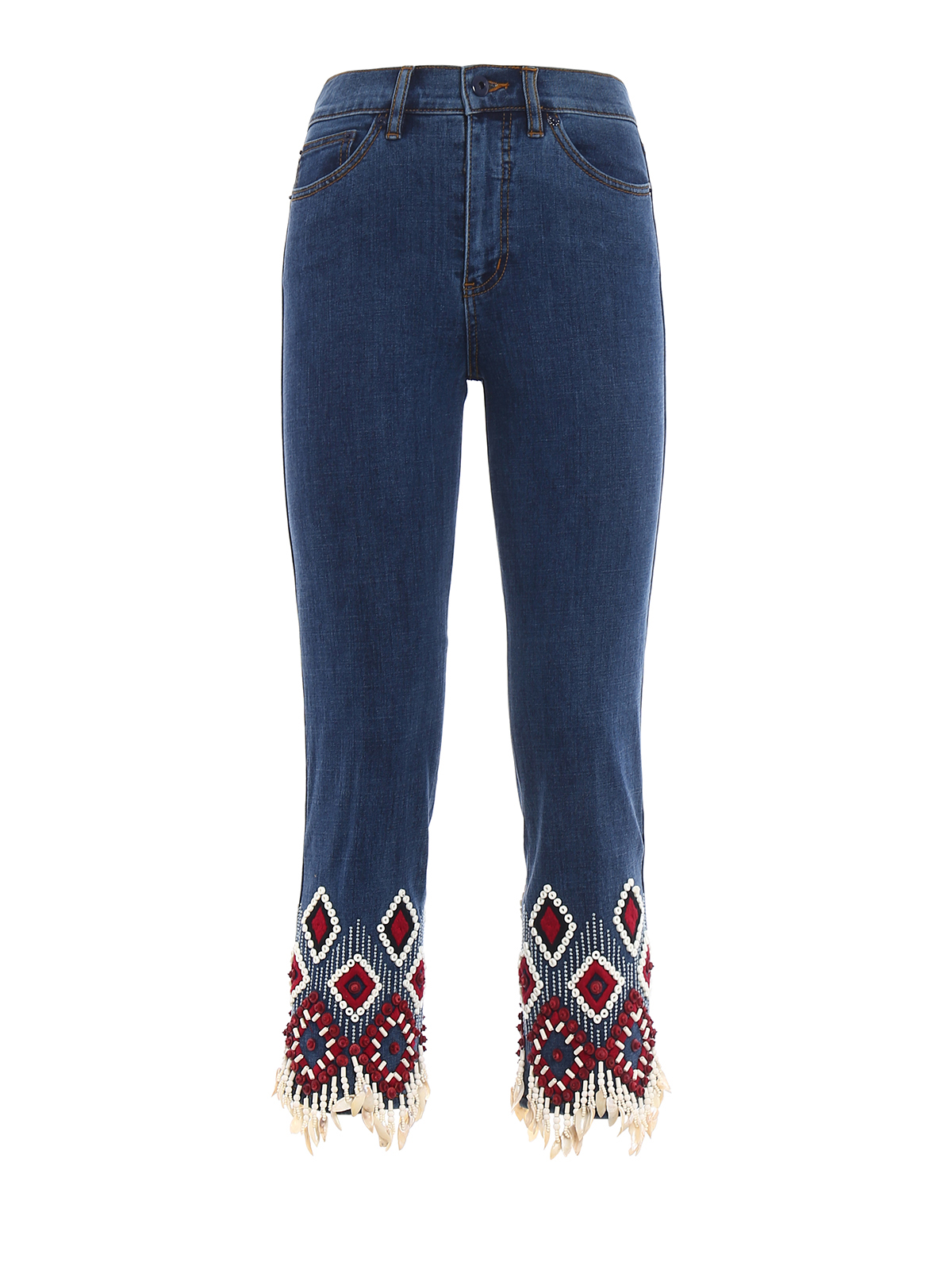 Mia embroidered cropped jeans by tory burch straight leg