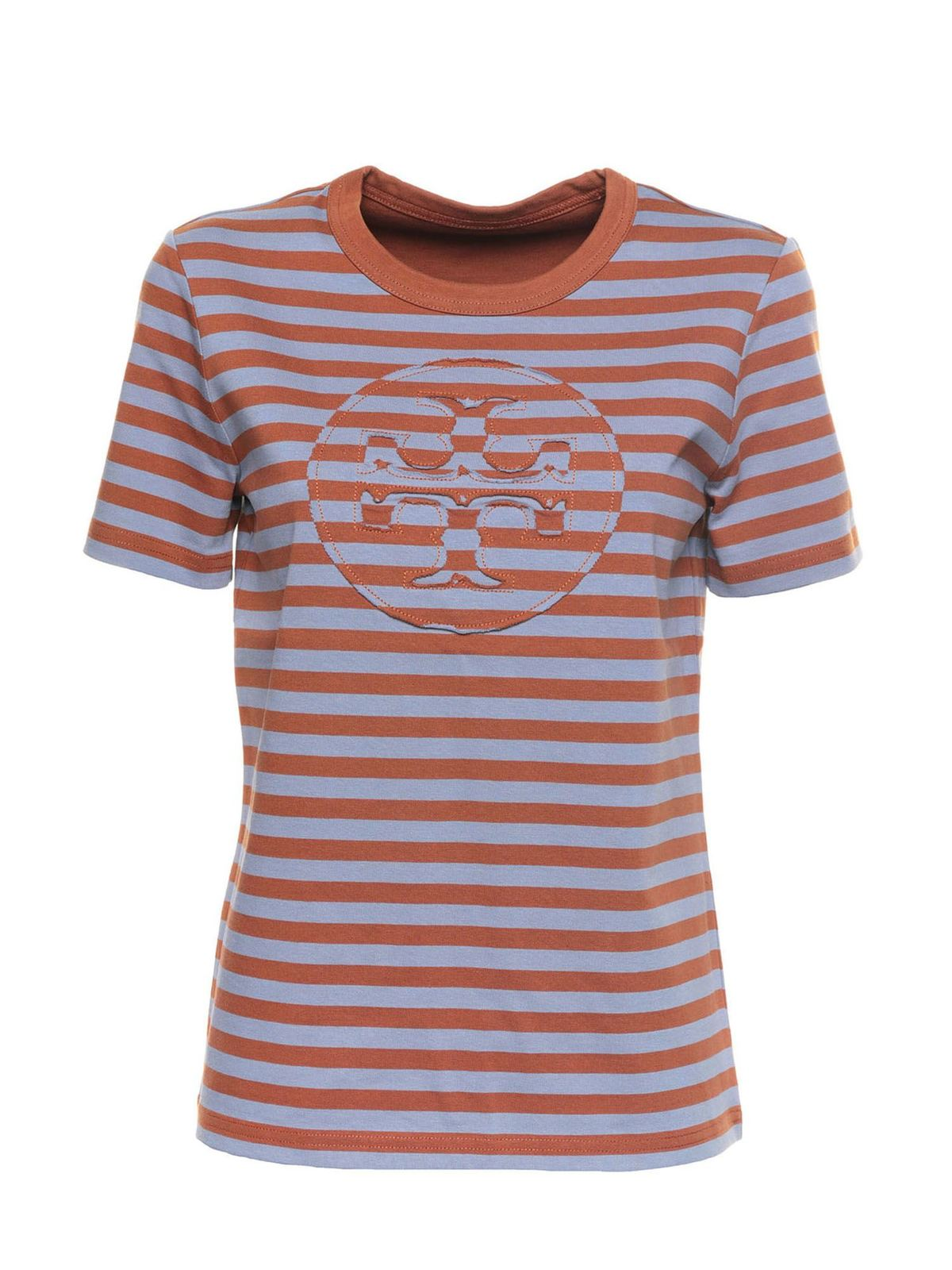 Tory Burch STRIPED T-SHIRT IN BROWN AND LIGHT BLUE