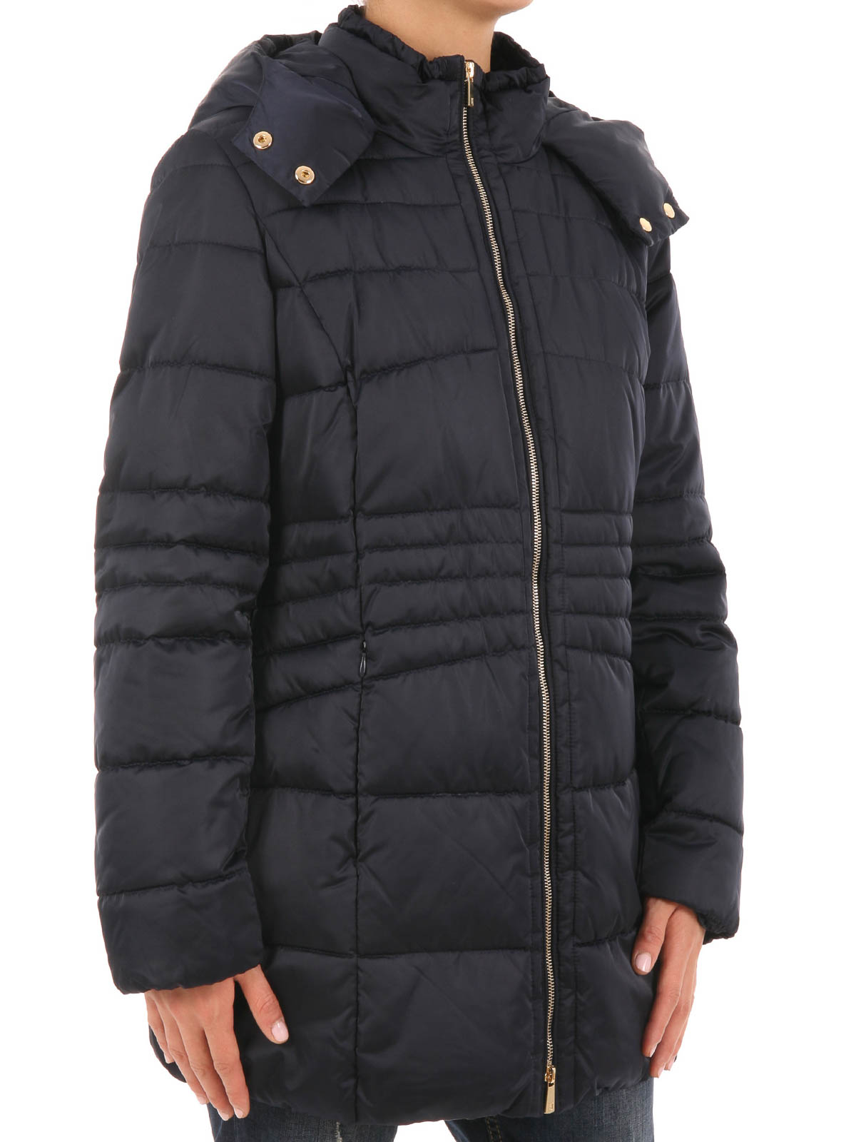 trussardi quilted padded jacket with hood casual