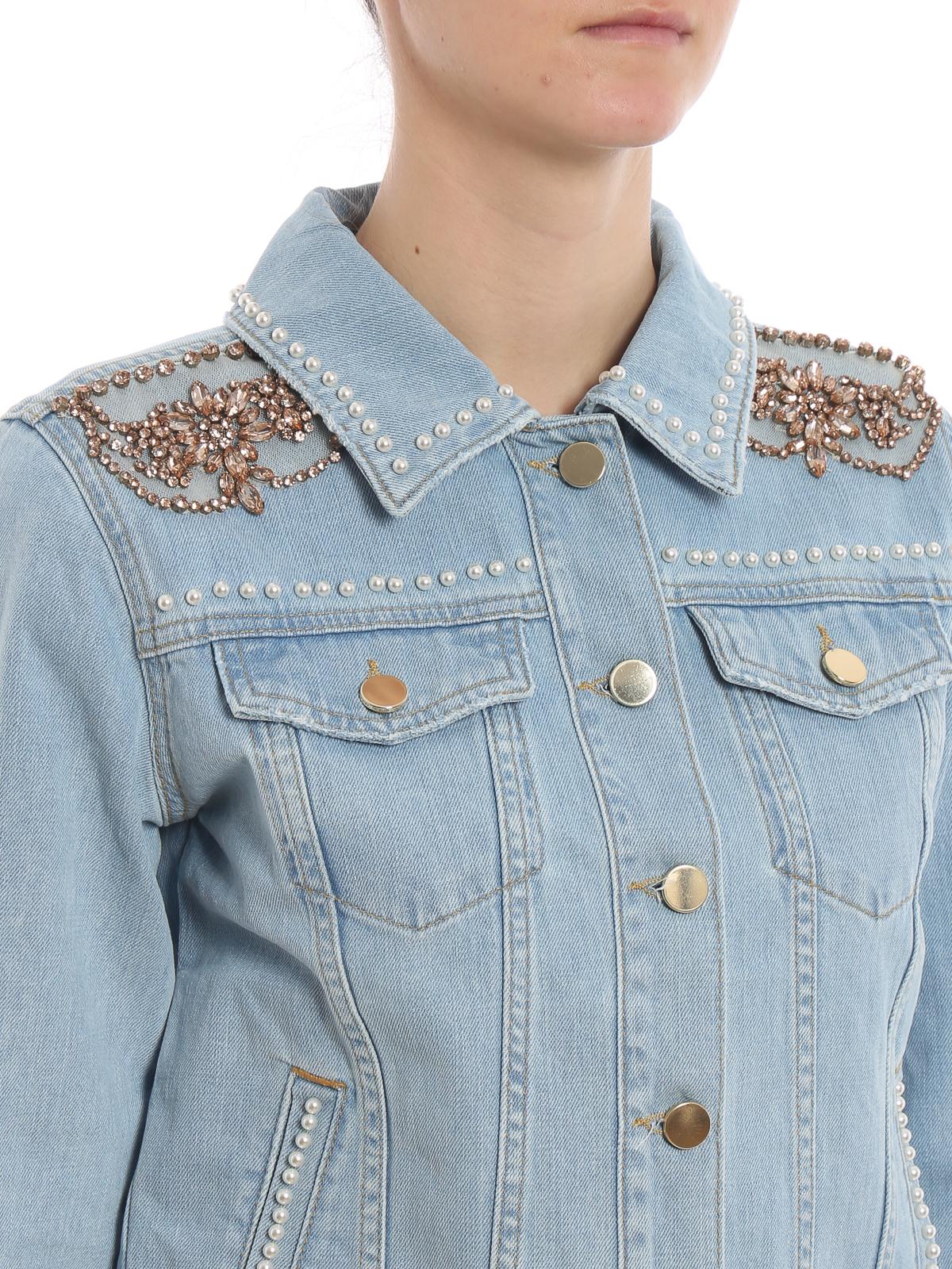 Twinset - Giacca in denim con ricami gioiello - giacche denim ... 08d875f7467