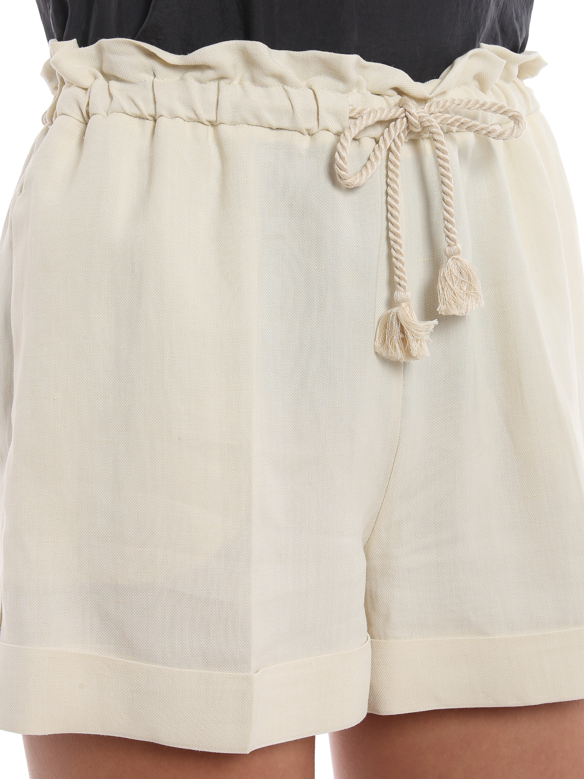 Shorts Color Misto In Pantaloni Avorio Twinset Lino hQrosdxtCB