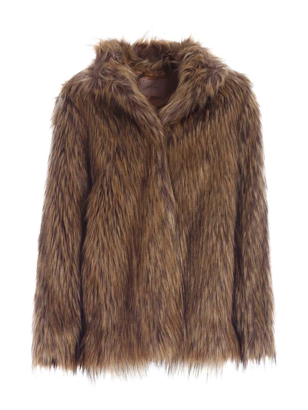 Twinset FAUX FUR IN BROWN AND BLACK