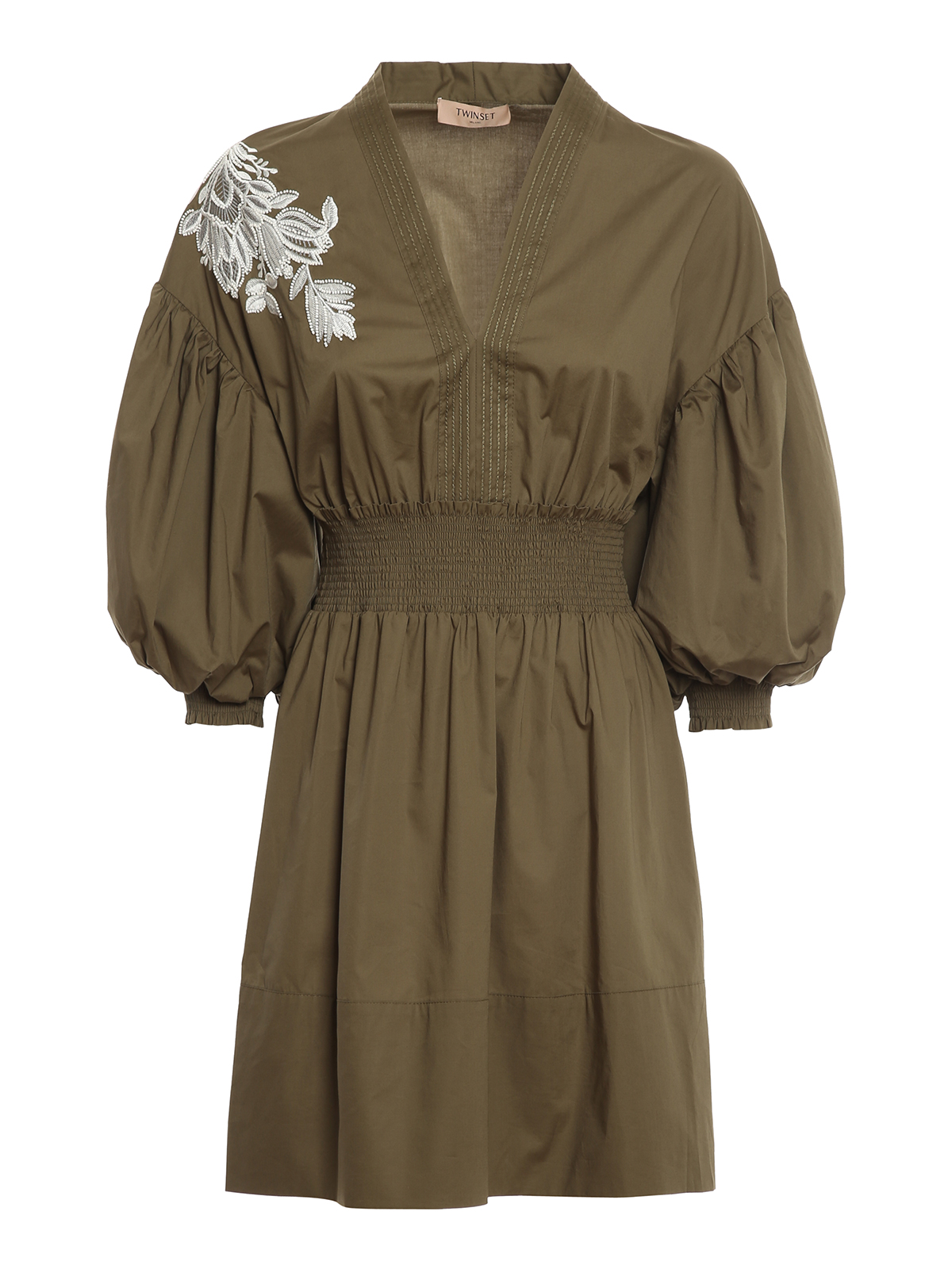 Twinset Cottons EMBROIDERED COTTON DRESS