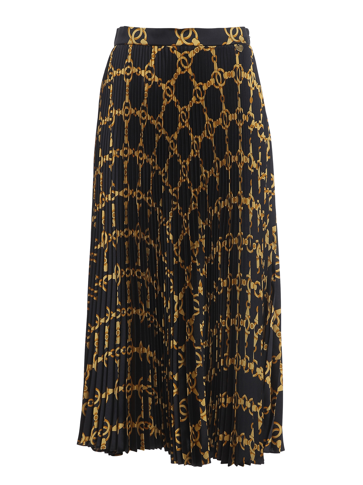Twinset PLEATED GOLD CHAIN PRINT SKIRT