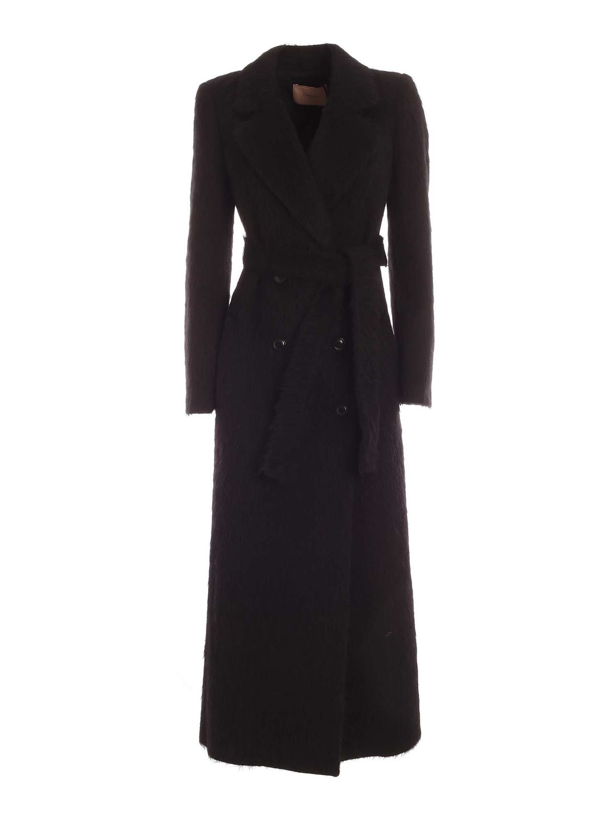Twinset BELT DOUBLE-BREASTED COAT IN BLACK
