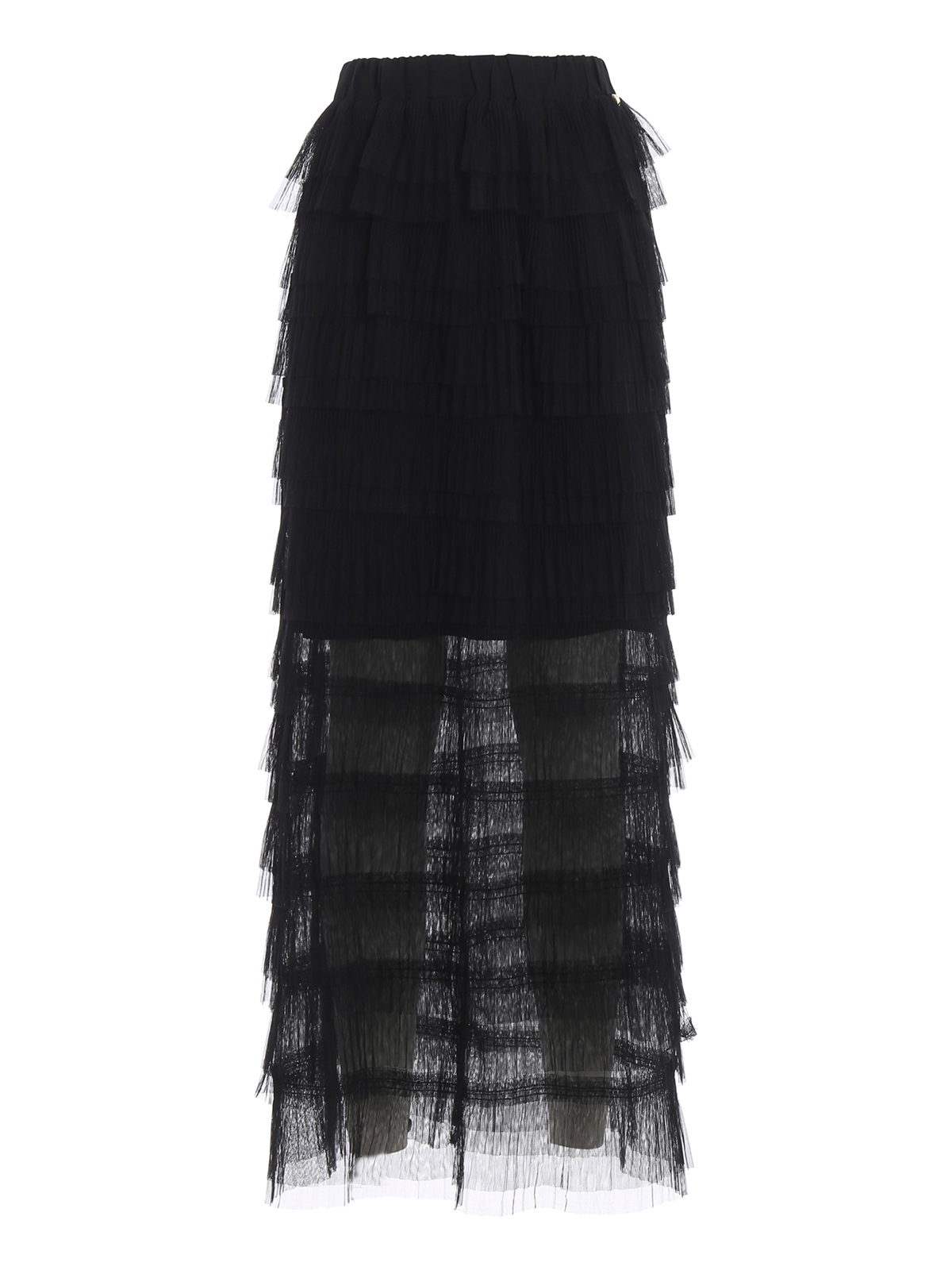 online store 99bf4 fa67d Twinset - Gonna lunga nera in tulle a balze - Gonne Lunghe ...