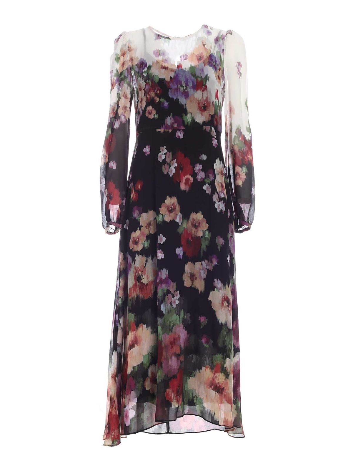 Twinset FLORAL PRINT DEGRADE EFFECT DRESS IN BLACK
