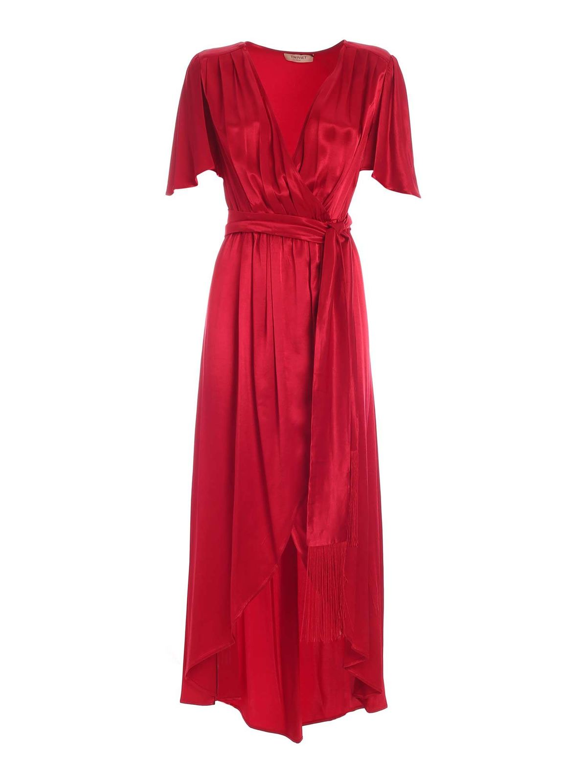 Twinset SATIN WALLET DRESS IN RED
