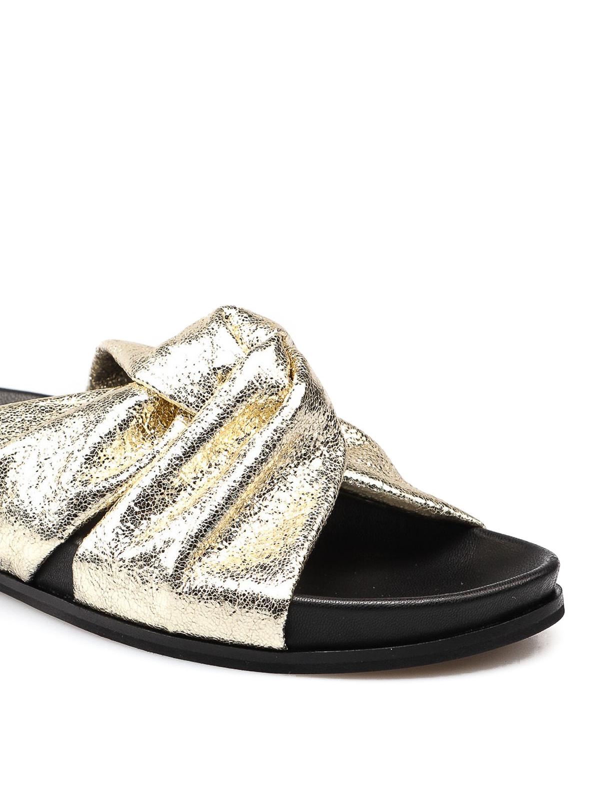 new product adc7e 99e91 Twinset - Golden slides - sandals - 191TCT054 50C | Shop ...