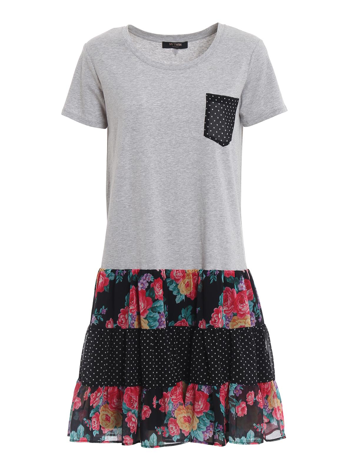 Twinset - Grey stretch cotton T-shirt style short dress ...