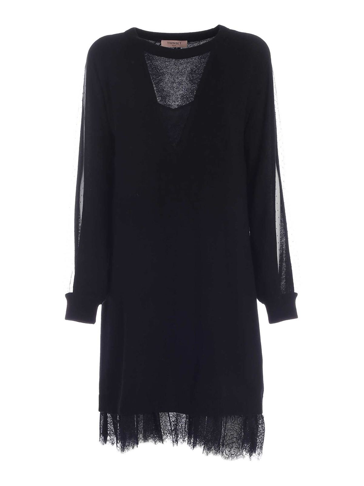 Twinset LACE DETAILED KNITTED DRESS