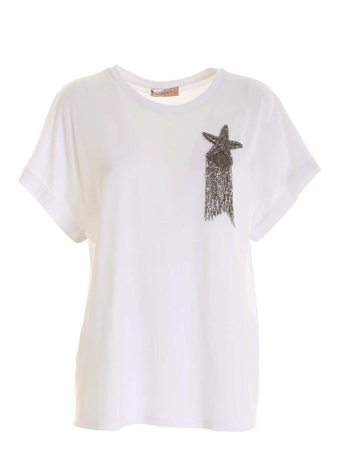 Twinset MICRO BEADS PATCH T-SHIRT IN WHITE